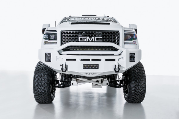 "Pre-Runner bar. With Parking Sensors Mounts.  Clevis Mounts. Rigid Industries 10"" E-Series in the license plate area. Two Rigid Industries 4"" E-Series per side (Horizontal)."
