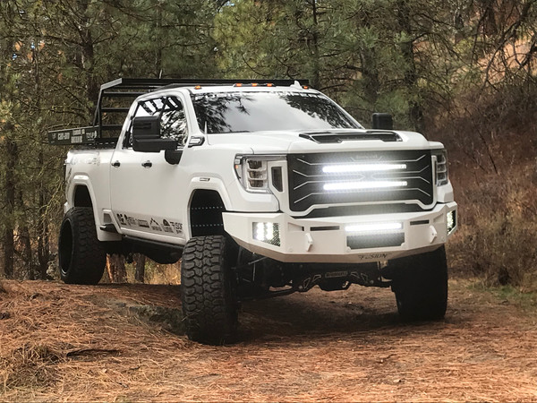 """2020 GMC HD  Gladiator Edition Two Vision X 6"""" bars-Vertical 20"""" Vision X bar above the vent"""