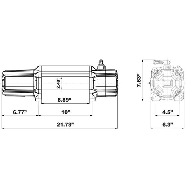 CSI A12000S 12000LBs - Synthetic Rope - Aluminum Hawse Fairlead Winch