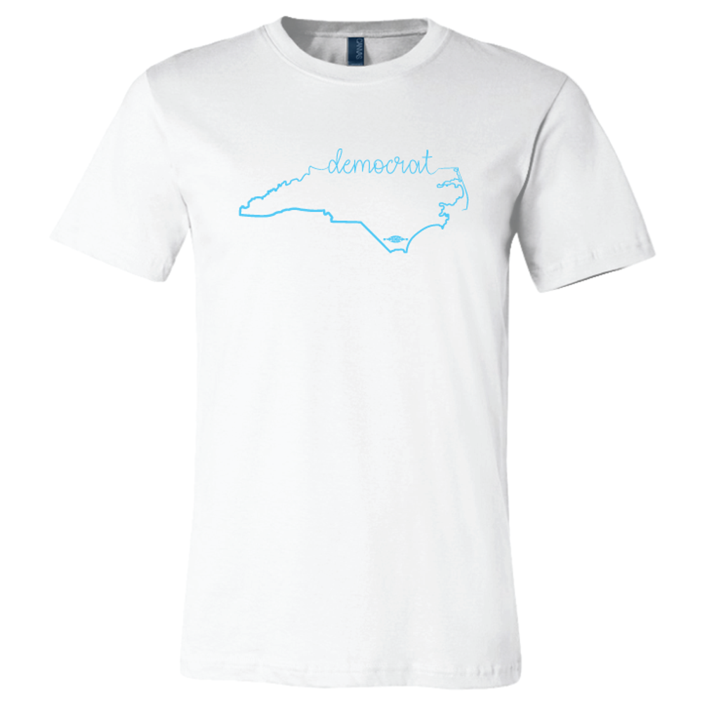 Cursive Democrat NC State Graphic (on White Tee)