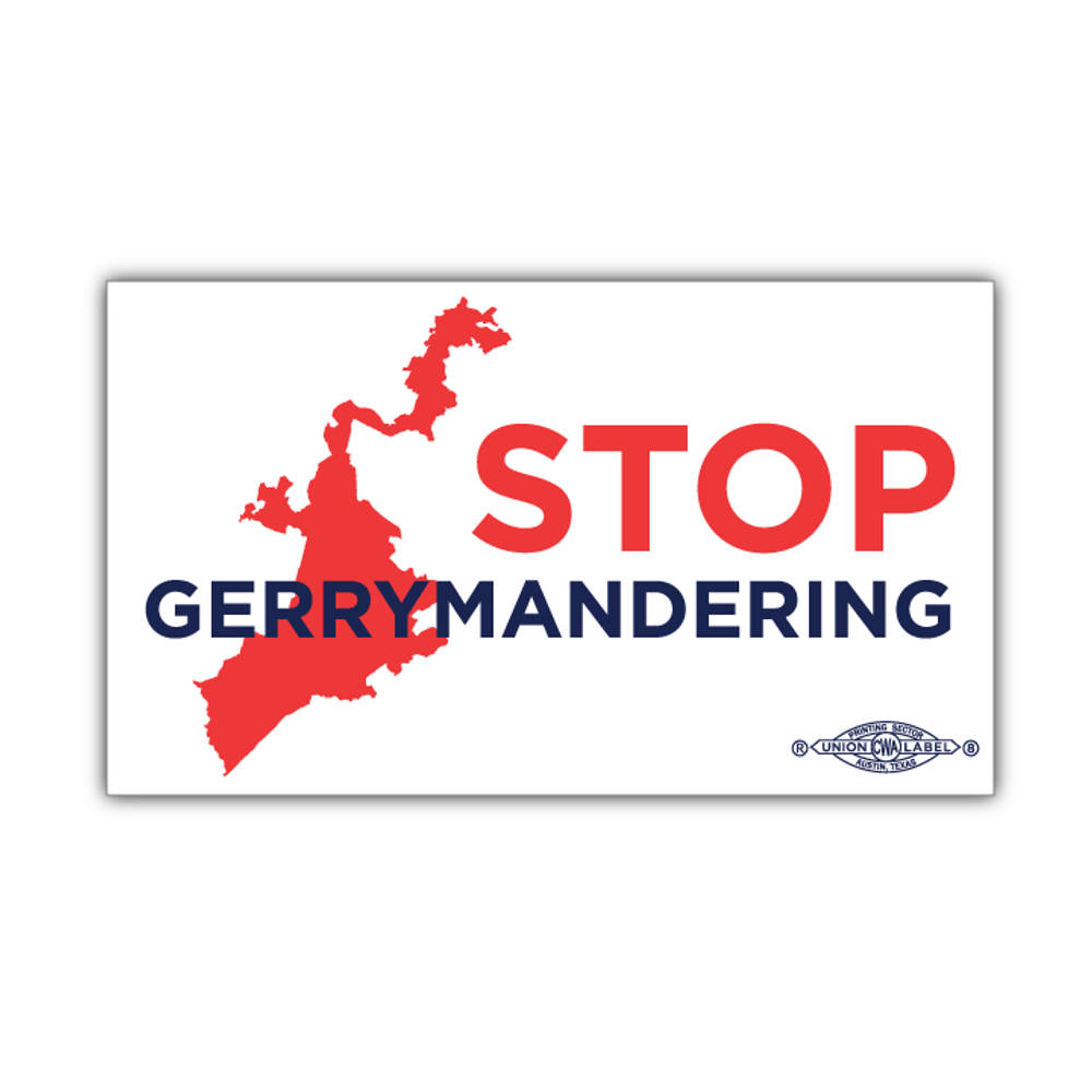 "Stop Gerrymandering (6"" x 3.5"" Vinyl Sticker -- Pack of Two!)"
