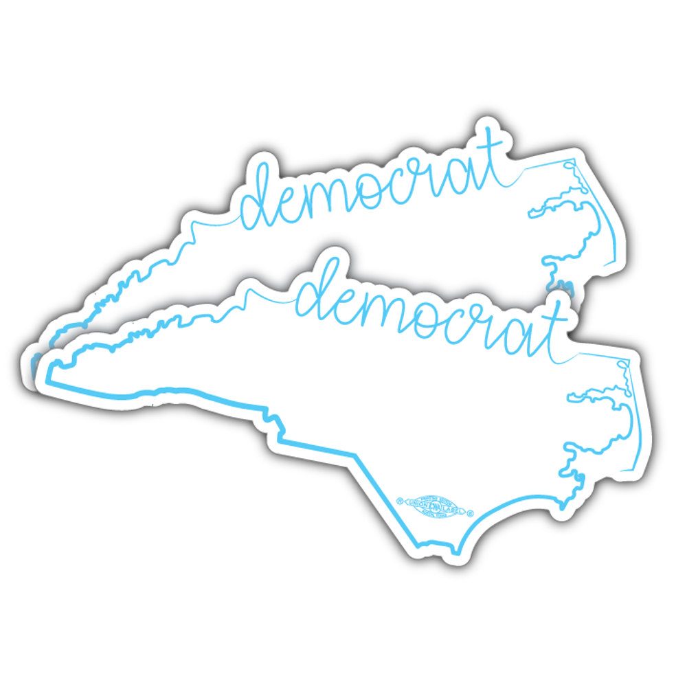 "NC Democrat Script  (7"" x 3"" Vinyl Sticker -- Pack of Two!)"