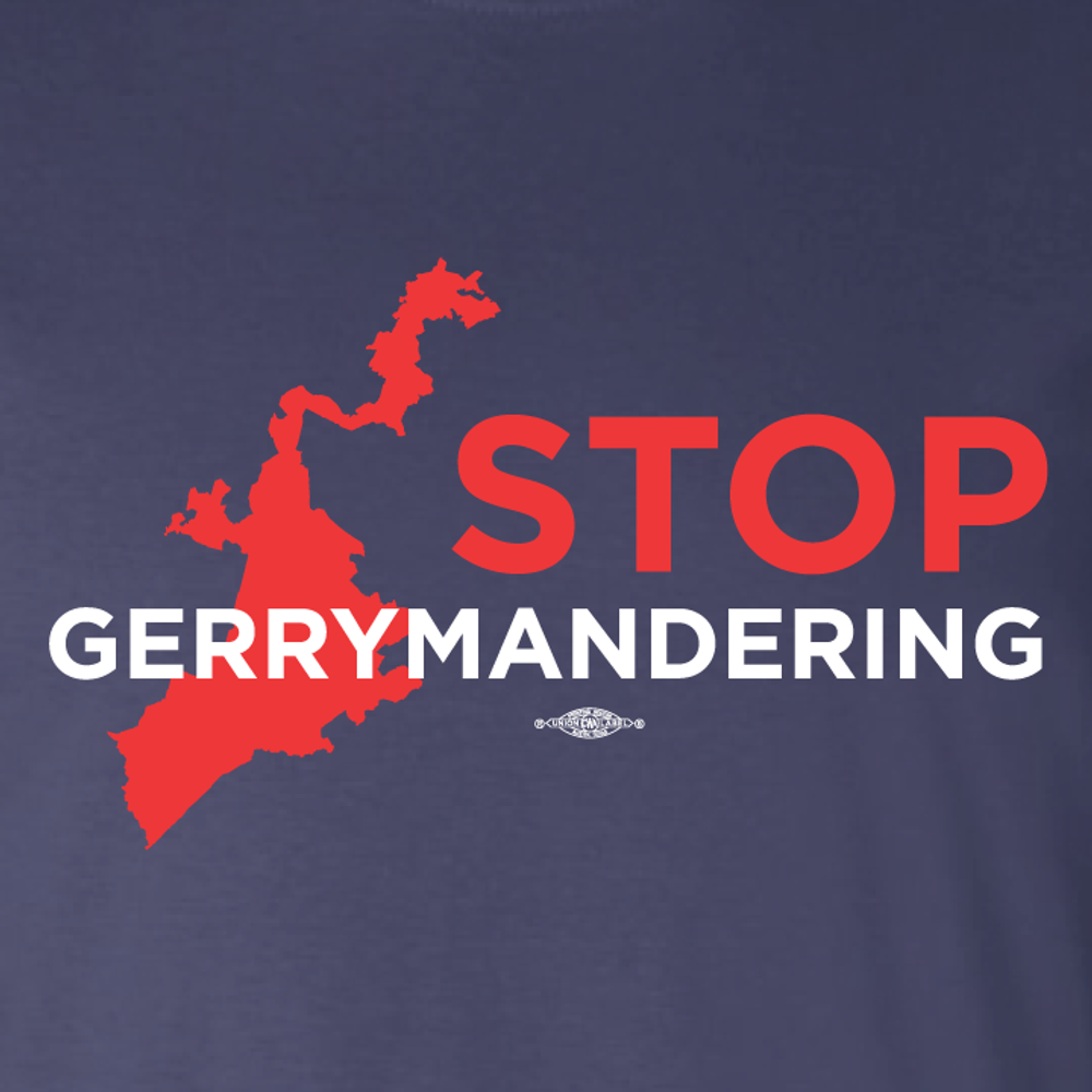 Stop Gerrymandering (on Navy Tee)