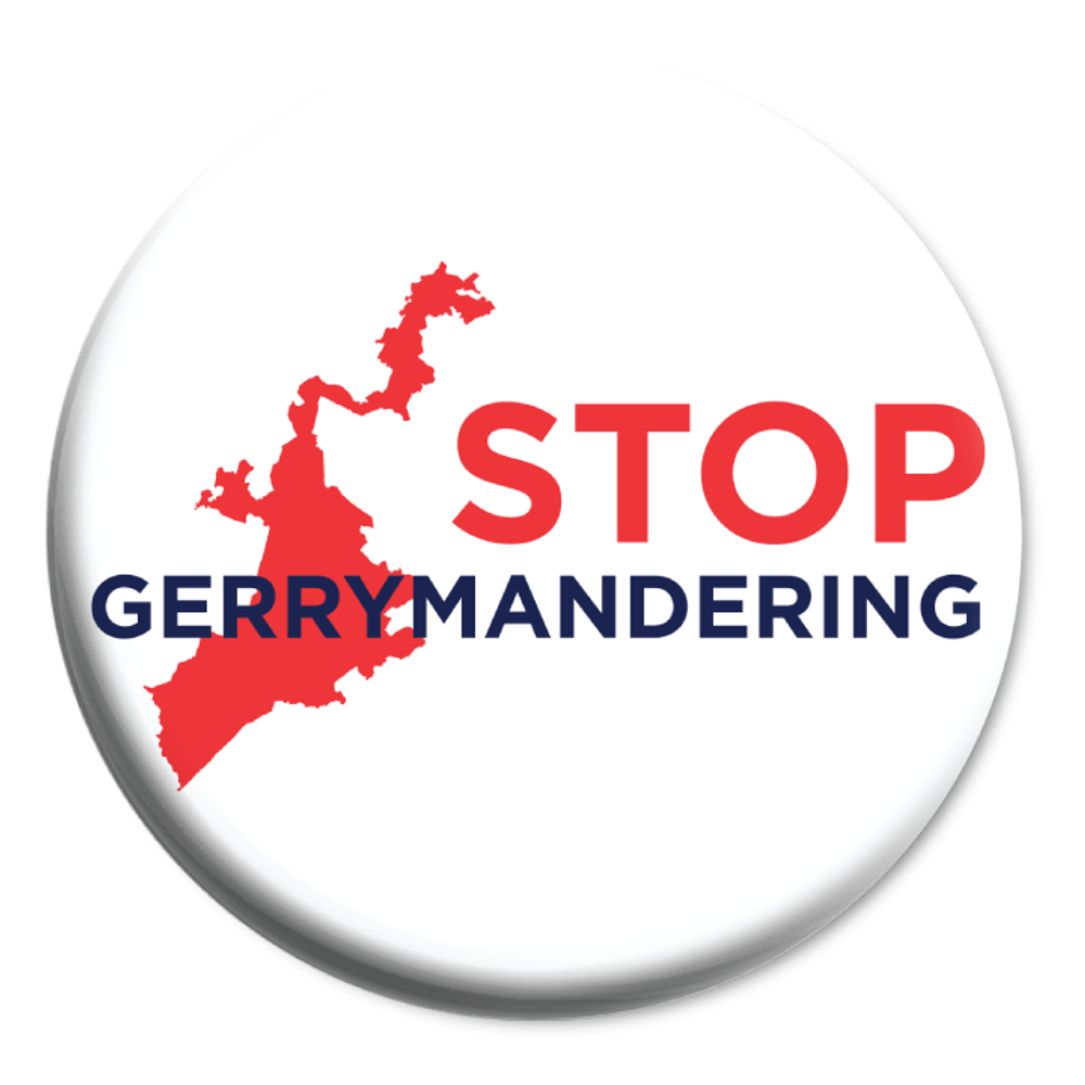 """Stop Gerrymandering (2.25"""" Mylar Button -- Pack Of Two!)"""
