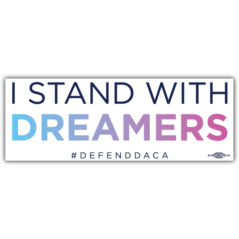 """Stand With Dreamers - Rectangle (9"""" x 3"""" Vinyl Sticker -- Pack of Two!)"""