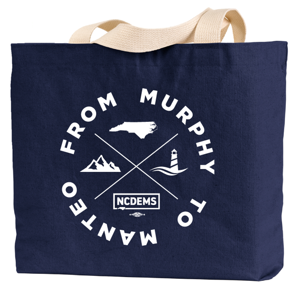 From Murphy to Manteo  (Navy Canvas Tote)