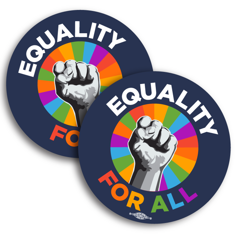 "Equality for All - Rainbow (4"" Vinyl Sticker -- Pack of Two!)"