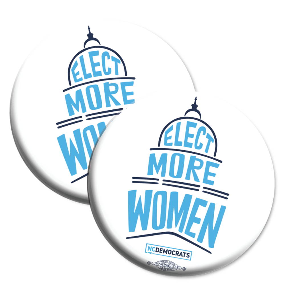 "Elect More Women - Navy and Royal Blue Design (2.25"" Mylar Button -- Pack Of Two!)"