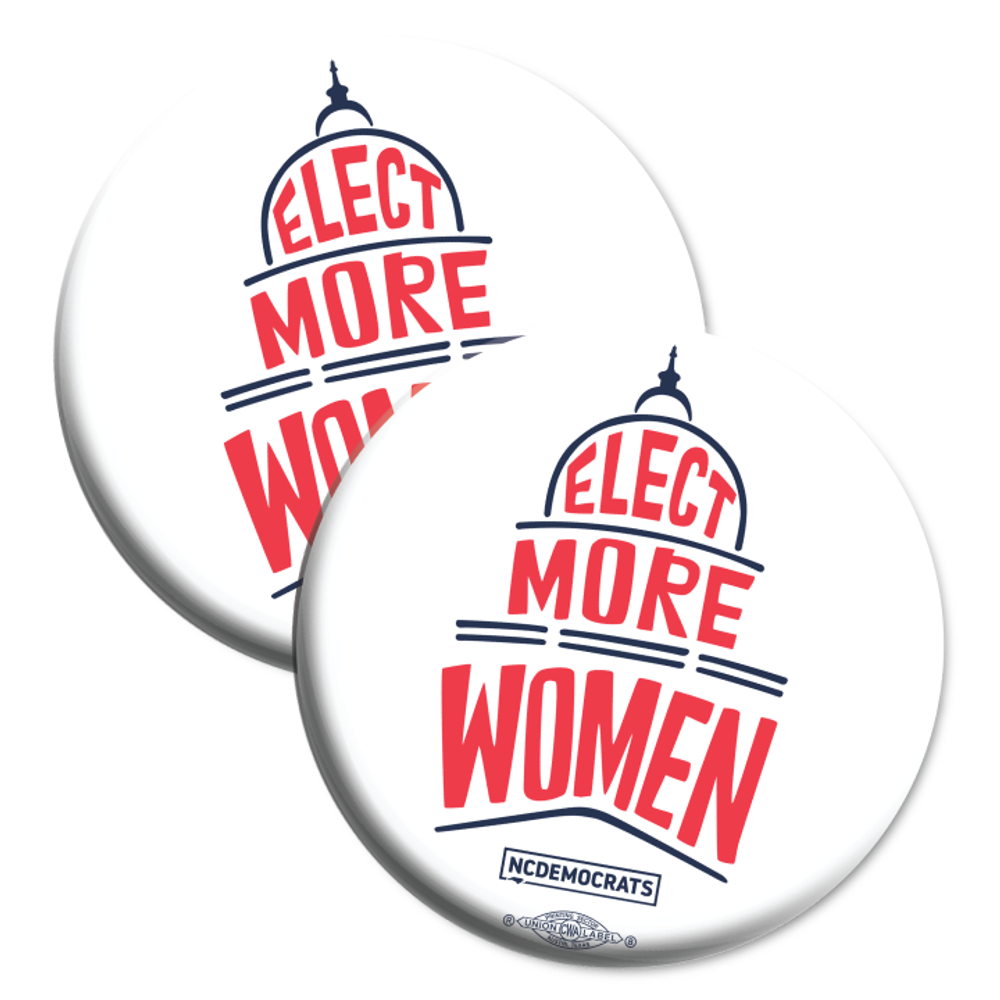 "Elect More Women - Navy and Red Design (2.25"" Mylar Button -- Pack Of Two!)"