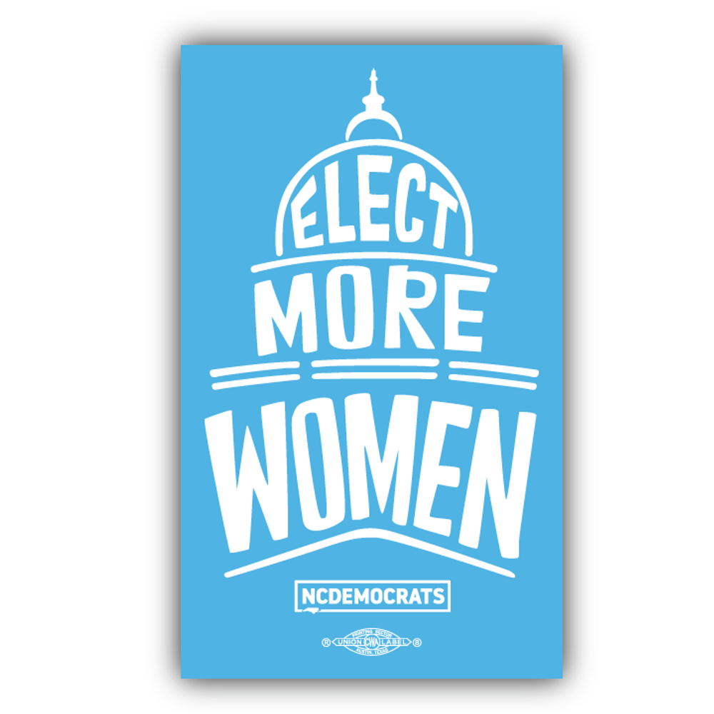 "Elect More Women - Royal Blue Design (4"" x 6.6"" Vinyl Sticker)"