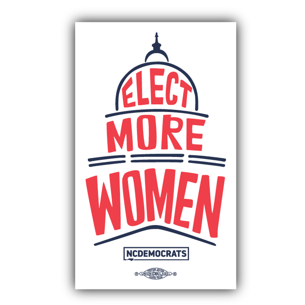 "Elect More Women - Navy and Red Design  (4"" x 6.6"" Vinyl Sticker -- Pack of Two!)"