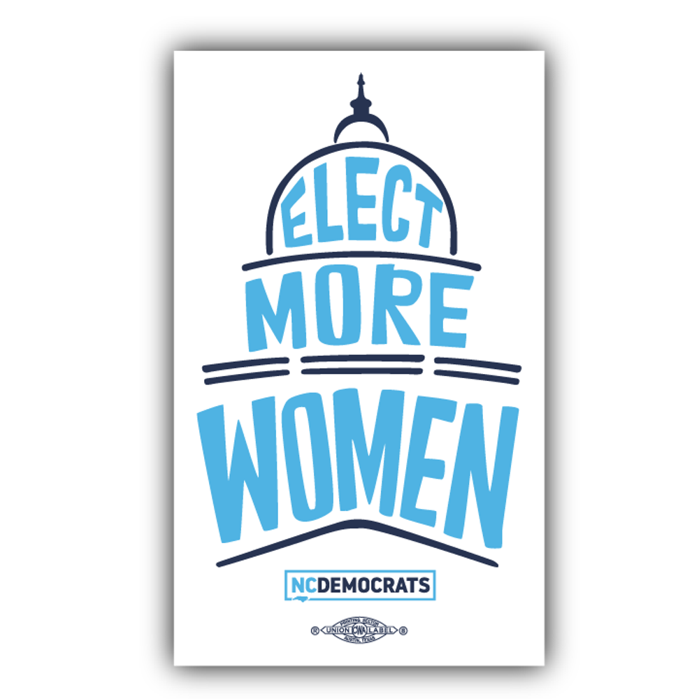 "Elect More Women - Navy and Royal Blue Design (4"" x 6.6"" Vinyl Sticker)"