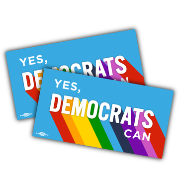 "Yes, Democrats Can (7"" x 3"" Vinyl Sticker -- Pack of Two!)"