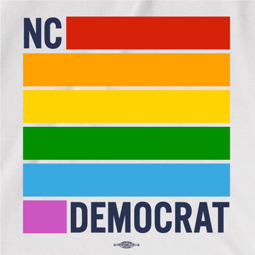 NC Democrats Pride Stripes  (on White Tee)