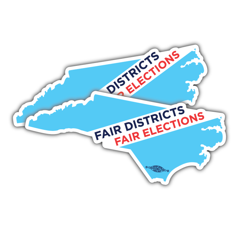 """Fair Districts, Fair Elections (7"""" x 3"""" Vinyl Sticker -- Pack of Two!)"""