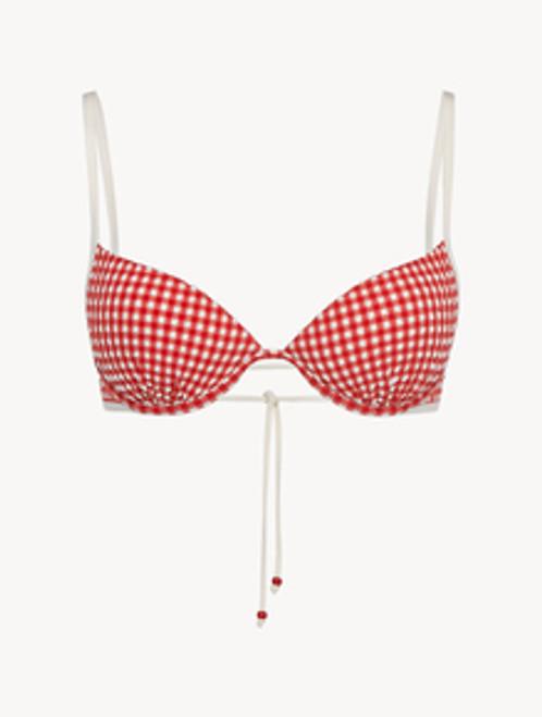 Underwired Bikini top in red gingham seersucker