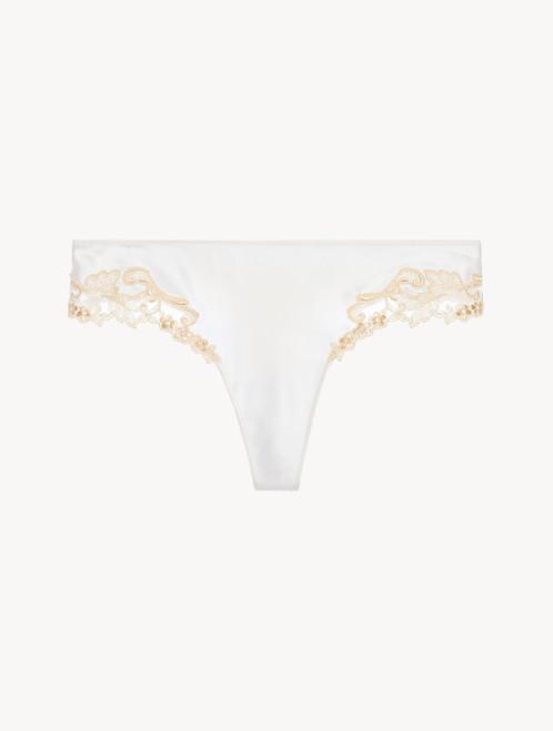 White silk satin thong with frastaglio