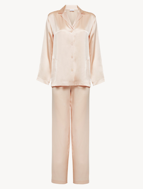 Pyjamas in blush pink silk
