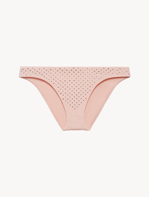 Low-rise Bikini Briefs in rose pink with diamanté detail