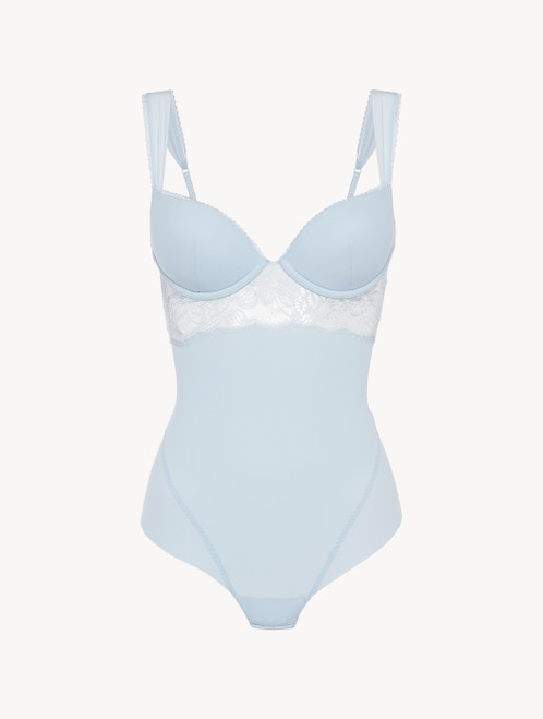 Underwired Bodysuit in blue Lycra with Leavers lace