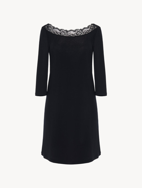 Nightgown in black stretch modal jersey with Leavers lace