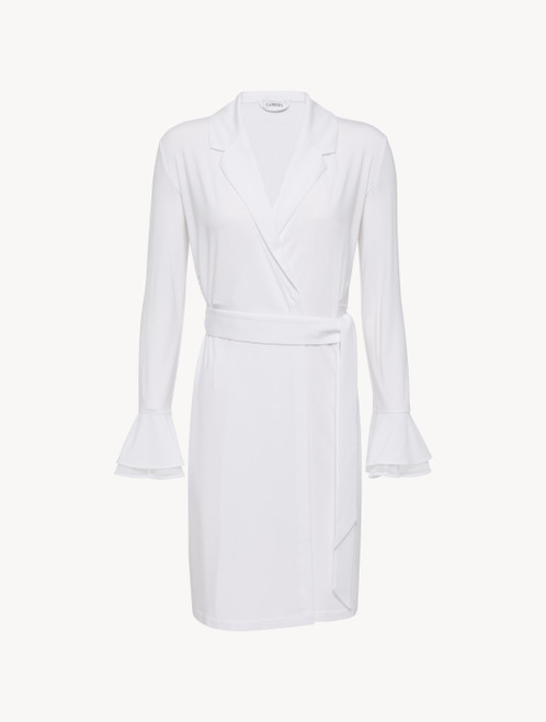 Robe in white modal stretch with Leavers lace