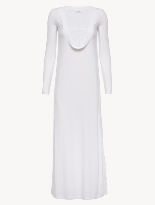 Nightgown in white modal stretch with Leavers lace