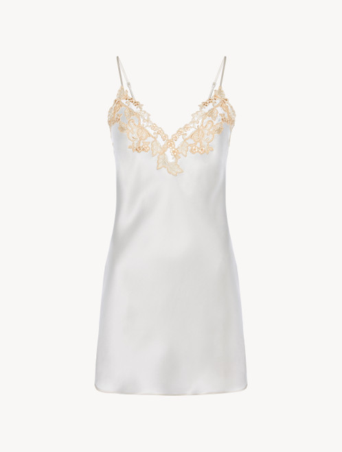 White silk satin slip with frastaglio
