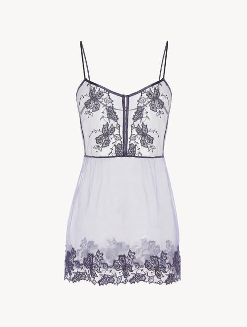 Slip Dress in violet embroidered tulle