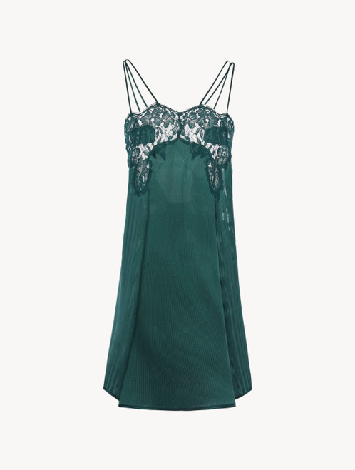 Slip Dress in dark green silk with Leavers lace