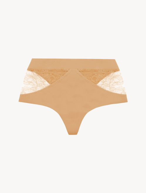 Nude Lycra control fit high-waist thong with Chantilly lace