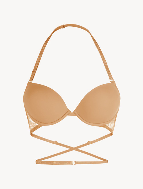 Nude T-shirt multiway bra with Chantilly lace