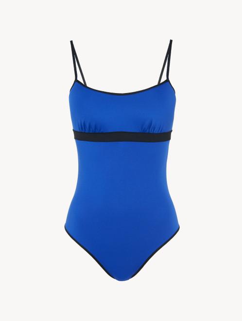 Colour-block swimsuit in cobalt and black
