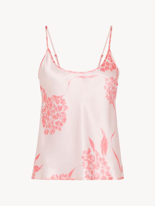 Silk camisole with soft pink florals