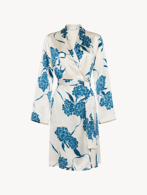 Silk short robe with dusty blue florals