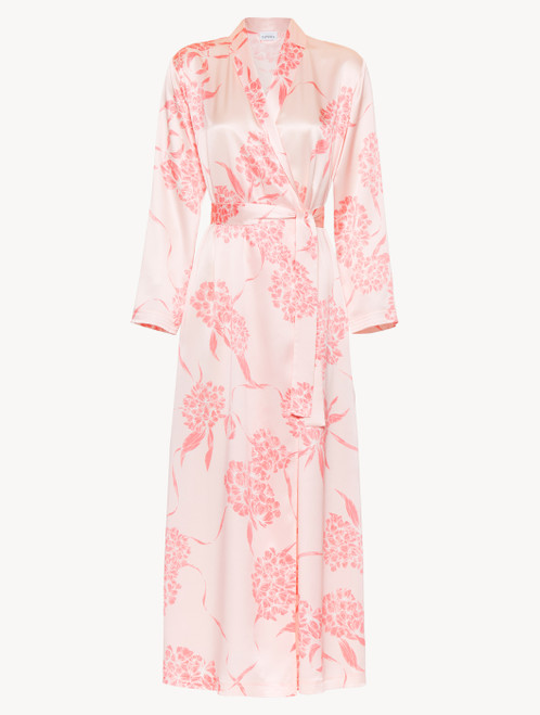 Silk long robe with soft pink florals