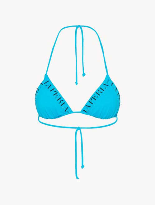 Triangle bikini top in turquoise with logo