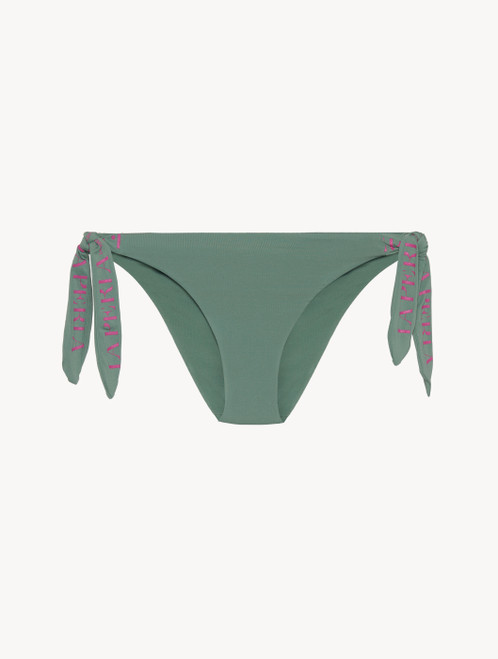 Ribbon tie bikini brief in khaki green with logo