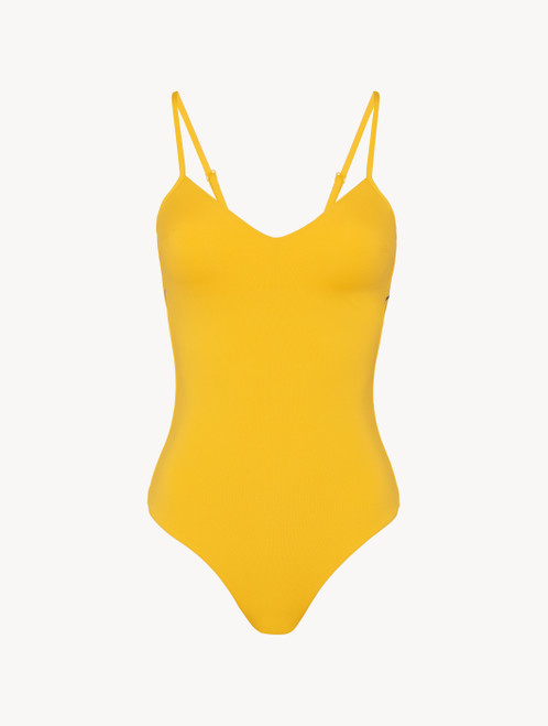 Padded swimsuit in yellow with logo
