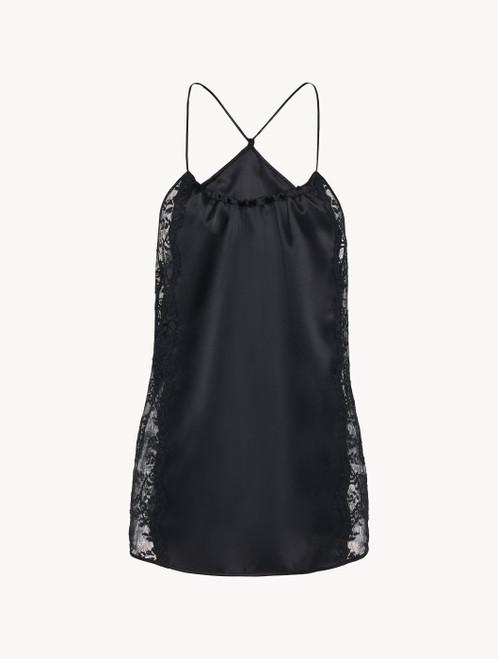 Black silk halterneck camisole with Leavers lace trim