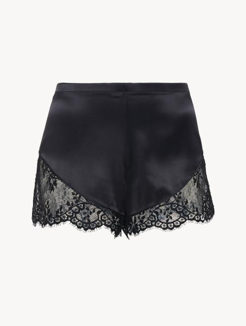 Black silk pyjama shorts with Leavers lace trim
