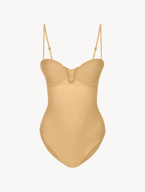Hazel-coloured underwired padded U-bra bodysuit