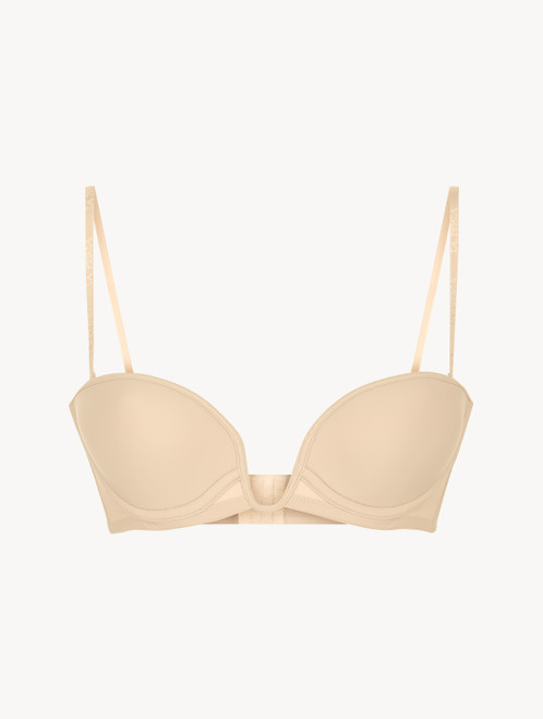 Latte-coloured underwired padded bandeau U-bra