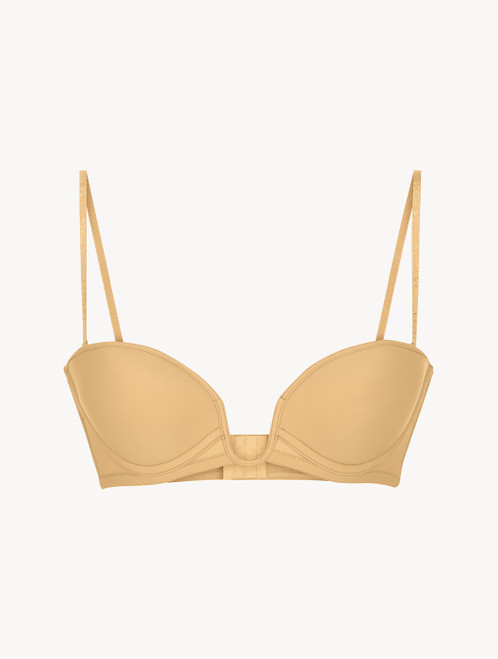 Hazel-coloured underwired padded bandeau U-bra