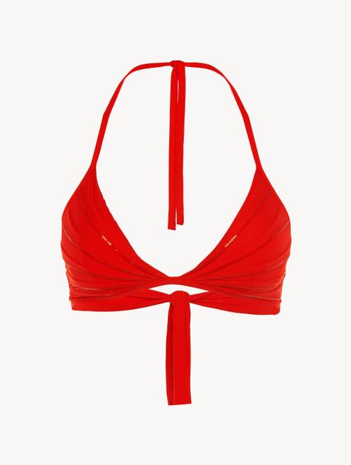 Red triangle bikini top