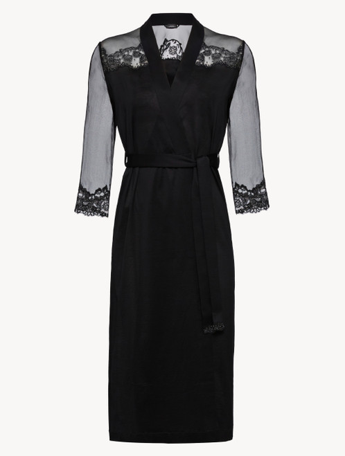 Black silk chiffon short robe