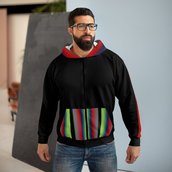 Unisex Zip Hoodie Black Pattern --  15% Off  @ CHECKOUT