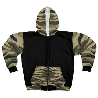 Unisex Camouflage Zip Pattern Black Hoodie -  15% Off  @ CHECKOUT