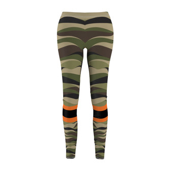 leggings camouflage  orange and black patch
