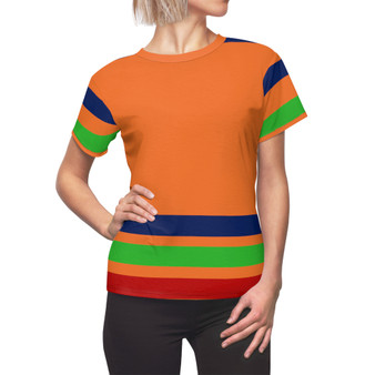 Orange Striped Women Shirt